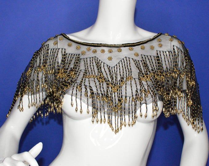 Vintage Estate Art Deco Hand Beaded Gold Black Shawl Collar Necklace Scarf Shoulder Shrug
