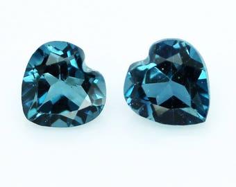 1.85 ct./2 pcs. Fabulous Natural Gemstones Heart 6 mm. London Blue Topaz