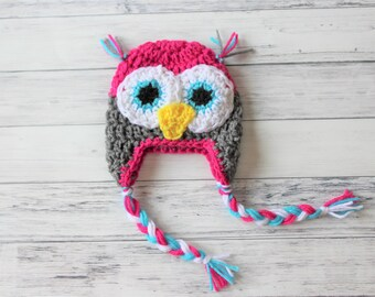Crochet Baby Hat, Baby Owl Hat, Girl Owl Hat, Toddler Owl Hat, Baby Photo Prop, Knit Owl Hat, Knit Baby Hat, Girl Crochet Hat, Adult Owl Hat