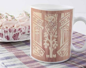Watercolor Ceramic Mug | Pelican | Birds | Medieval Art | 11 Ounces | Coffee Mug | Watercolor Illumination | 12th Century | Watercolor