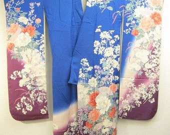 japanese kimono vintage blue furisode with flowers