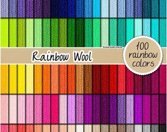 SALE 100 wool digital paper rainbow wool fabric digital paper wool texture printable scrapbooking pattern 12x12 neutral bright pastel