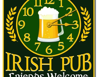 Personalized Irish Pub Green Wall Clock