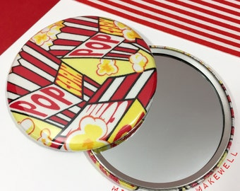 At The Movies Popcorn Fabric Pocket Make Up Travel Cosmetic Vanity Hand Mirror by Miss Cherry Makewell
