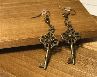 Antique-Style Key Chain Drop Earrings