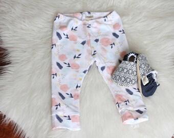 Pink Blooms Baby Leggings, Baby Leggings, Toddler Leggings, baby Pants, Baby Leggings, Floral Baby Leggings, Baby Girl Leggings