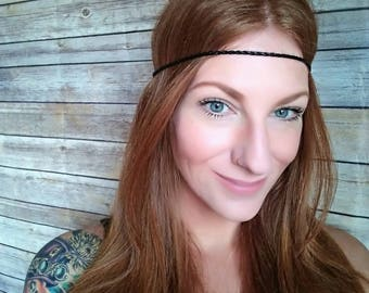 Black Boho Headband, Hippie Boho Headband, Braided Headband, Thin Headband, Leather Headband, Hippie Headband, Bohemian Headband