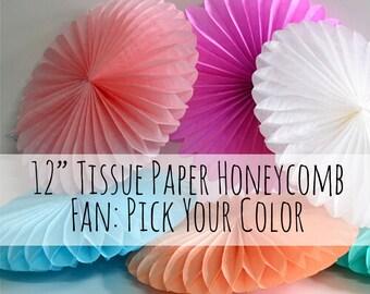 "12"" Tissue Paper Pinwheel, Honeycomb Fan, Circle Fan, 12 inch Round Wall Art, Party Supply, DIY Nursery, Photo Backdrop, Wedding Decorations"