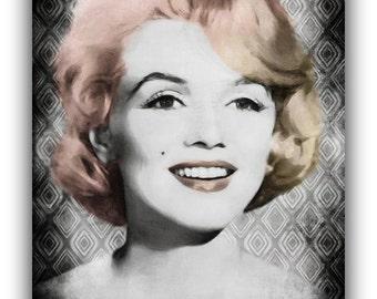 Unique Painting of Marilyn Monroe Norma Jeane American Actress Model Singer 1950s Mix media Art Retro Art Fine Arts Home decor Wall Art Pink