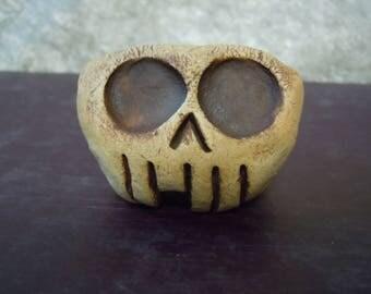 Tiny Clay Skull Planter