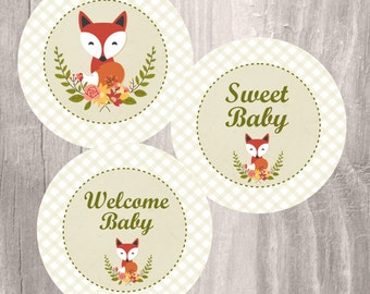 Printable Baby Shower Centerpieces, Little Fox Rustic Baby Shower 4 Inches  Party Circles, Instant