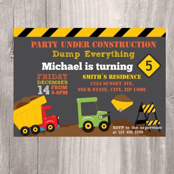 construction birthday party invite printable truck party invite