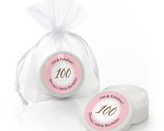 Chic 100th Birthday – Pink and Gold -  Lip Balm Party Favors -  Birthday Party Supplies - 12 Count