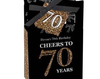 70th Birthday Party Favors for Birthday Parties - Favor Boxes - Adult 70th Birthday - Gold Party Supplies - Set of 12