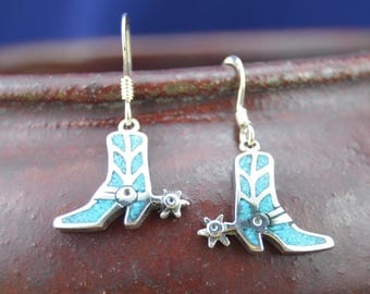 Navajo designed sterling silver & turquoise cowboy boot and spurs dangle earrings
