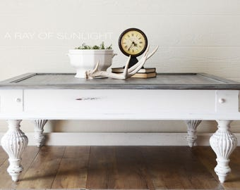 SOLD White Farmhouse Coffee Table Faux Weathered Wood Finish Large Living