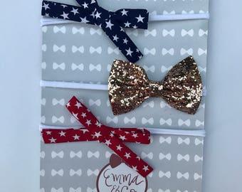 Fourth of July Bow set/White Nylon headband