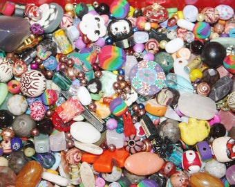 100 Piece High Quality Assorted Bead Mix, Assorted Sizes and Shapes, Multi Colored Beads, Glass Beads, Gemstone Beads, No Seed Beads