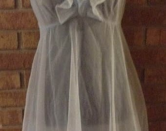 Baby Blue Ruffle Babydoll Lingerie 1960s Vintage Gorgeous