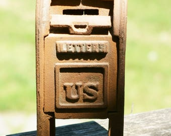 Vintage Cast Iron US Mailbox Coin Bank/ Air Mail Post Office Bank