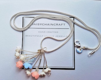 Flower Necklace in Light Pastels by daisychaincraft on a 925 Silver chain