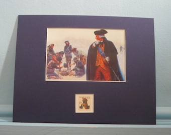 The American Revolution - George Washington at Valley Forge and the stamp issued to honor Valley Forge