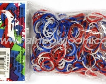 Patriot Bands (contains opaque and jelly) ** Rainbow Loom Bands Refill. 600 bands & c-clips. Guaranteed authentic. Latex-free.