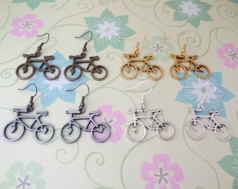 Bicycle Charm Earrings in Bronze, Gold, Gunmetal or Silver - Ready to Ship