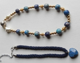 Pretty Pair of Handmade Blue Stone Necklaces!