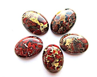 Jasper Cabochon Natural Rainbow Jasper Cabochon Natural Stone Cabochon 30 x 22 mm  Flat back Jewelry Supplies(1)