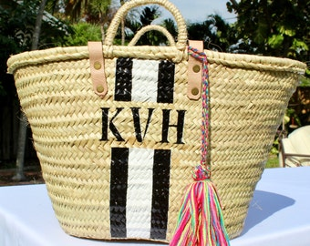 custom monogrammed bag customize straw bag initialed beach