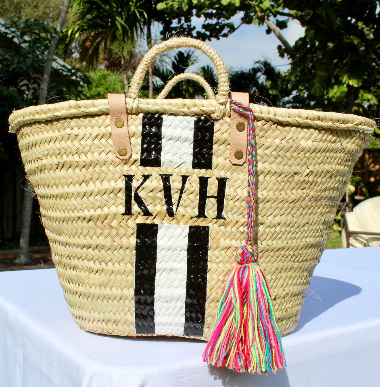 black striped personalized french market basket custom