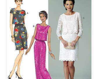 Butterick Sewing Pattern B6414 Misses' Overlay-Bodice Dresses