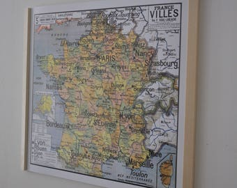 Reproduction of old school map N 5 cities by Vidal Lablache France