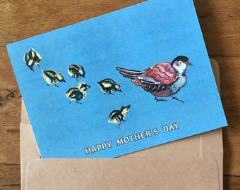 Mother's Day card with mother and baby quails