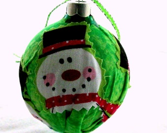 Fabric covered glass ornament EBC0007