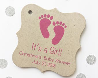 It's A Girl Baby Shower Tags, Kraft Baby Feet Shower Favor Tags, Custom Tags  (FS-162-3-KR)