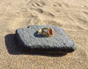 Size P Mookaite Jasper Gemstone wire wrapped ring