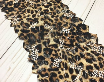 """CHEETAH Stretch Lace 6.5"""" Wide Bra Lace, Underwear Lace, Lingerie Lace, Headband Lace, Hem Lace BTY By The Yard"""