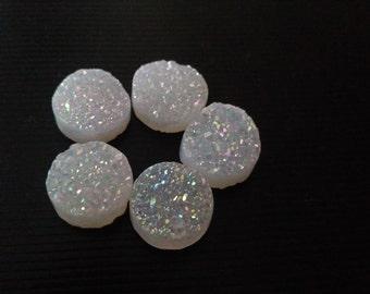 Round Druzy Stones White Color 10 MM-5 Pcs