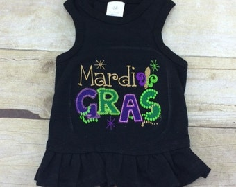 Mardi Gras Dog Shirt or Dress, Cute Fat Tuesday Louisiana Cajun Holiday Embroidery and Applique Shirt
