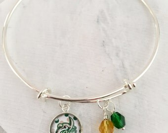 UNC Charlotte Bracelet, UNCC Miners, UNC Charlotte Jewelry, Green and Gold, Charlotte Miners, Game Day Bracelet, Game Day Jewelry
