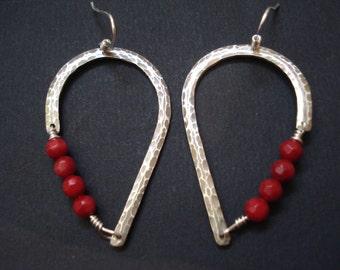 Hammered Silver Wire Red Beaded Hoop Earrings Handcrafted Unique  Modern Hoops Sterling Silver Drop Earrings