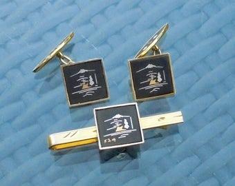 Japanese Amita Shakudo Damascene Chain Cufflinks & Tie Clip Gold Black, Silver and 24KT Carat Gold Traditional Mount Fuji Landscape Design