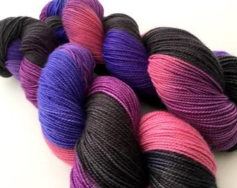 Hand Dyed Yarn--Purple Haze on Superwash 80 Merino/20 Nylon 2-Ply Twist Sock