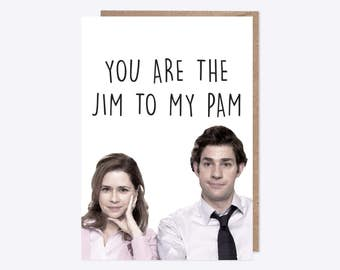 The Office USA | Watercolour Jim and Pam Greetings Card | You're the Jim to my Pam | Valentines, Romance, Anniversary |