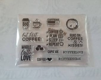 ON SALE! But First, Coffee! Clear Silicone Stamp Set - Planner Stamps - Clear Stamp Set - Silicone Planner Stamps