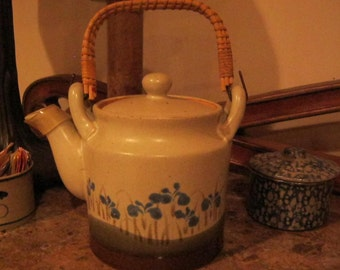 Pottery Teapot with Bamboo wrapped handle