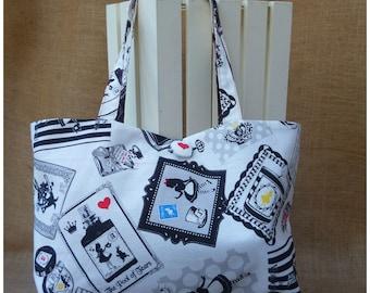 Alice In Wonderland Handbag, Alice Bag, Shoulder Bag, White Rabbit, Gift for Her, Canvas Bag, Alice Shoulder Bag, Canvas Handbag, Wonderland