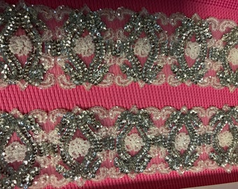 Silver Sequins Beaded Silver Trim. Beaded Trims, Sequins Trims, Trims, Dress Trims,Sash,Wedding Trims, Sold by Yard.